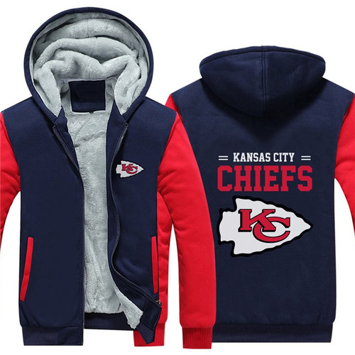 **(NEW-OFFICIALLY-LICENSED-N.F.L.KANSAS-CITY-CHIEFS/TRENDY-TWO-TONE-BLUE & RED-COLORS,FLEECE-LINED-TEAM-JACKETS/3-D-CUSTOM-DETAILED-GRAPHIC-PRINTED,DOUBLE-SIDED-N.F.L.CHIEFS-LOGOS/OFFICIAL-TEAM-COLOR-POCKETED-ZIP-UP,WARM-PREMIUM-FLEECE-JACKETS)**