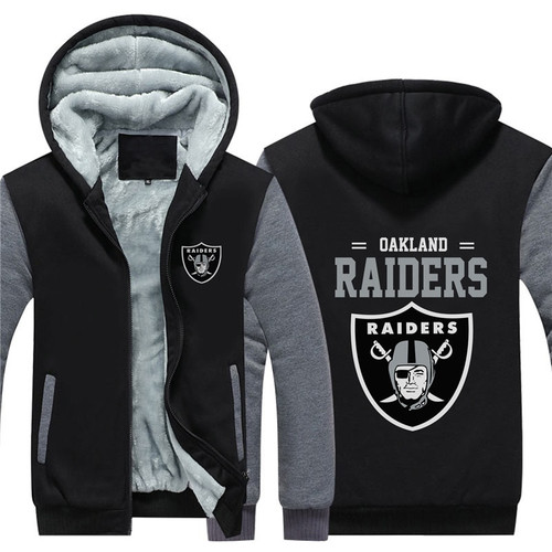 **(NEW-OFFICIALLY-LICENSED-N.F.L.OAKLAND-RAIDERS/TRENDY-TWO-TONE-BLACK & GREY-COLORS,FLEECE-LINED-TEAM-JACKETS/3-D-CUSTOM-DETAILED-GRAPHIC-PRINTED,DOUBLE-SIDED-N.F.L.RAIDERS-LOGOS/OFFICIAL-TEAM-COLOR-POCKETED-ZIP-UP,WARM-PREMIUM-FLEECE-JACKETS)**