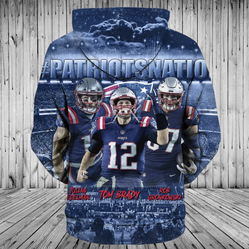 **(OFFICIALLY-LICENSED-N.F.L.NEW-ENGLAND-PATRIOTS-NATION & TOM-BRADY-NO.12-PULLOVER-HOODIES/NICE-CUSTOM-3D-GRAPHIC-PRINTED-DOUBLE-SIDED-ALL-OVER-GRAPHICS,IN-PATRIOTS-TEAM-COLORS/WARM-PREMIUM-OFFICIAL-N.F.L.PATRIOTS-TEAM-PULLOVER-POCKET-HOODIES)**