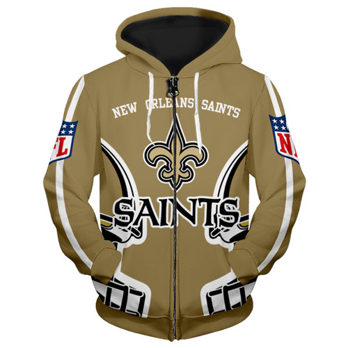 **(OFFICIALLY-LICENSED-N.F.L.NEW-ORLEANS-SAINTS-ZIPPER-UP-HOODIES/ALL-OVER-3D-GRAPHIC-PRINTED-IN-SAINTS-LOGOS & OFFICIAL-SAINTS-TEAM-COLORS/NICE-DETAILED-PREMIUM-DOUBLE-SIDED-PRINT,WARM-ZIPPER-UP-THE-FRONT-OFFICIAL-SAINTS-N.F.L.TEAM-HOODIES)**