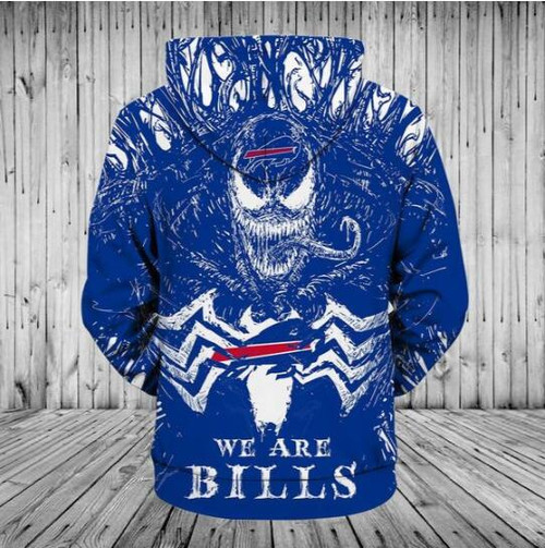 **(OFFICIAL-N.F.L.BUFFALO-BILLS/3D-VENOM-MOVIE-SKULL & WE-ARE-BILLS/BIG-OFFICIAL-BUFFALO-BILLS-LOGOS-ON-FRONT,NICE-CUSTOM-3D-ALL-OVER-GRAPHIC-PRINTED/DOUBLE-SIDED-WARM-PULLOVER-N.F.L.BILLS-TEAM-COLORED-PREMIUM-HOODIES)**