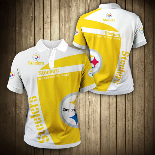 **(OFFICIAL-NEW-N.F.L.PITTSBURGH-STEELERS-TRENDY-TEAM-POLO-SHIRTS/CUSTOM-3D-STEELERS-OFFICIAL-LOGOS & OFFICIAL-CLASSIC-STEELERS-TEAM-COLORS/DETAILED-3D-GRAPHIC-PRINTED-DOUBLE-SIDED-DESIGN/PREMIUM-N.F.L.STEELERS-GAME-DAY-TEAM-FASHION-POLO-SHIRTS)**