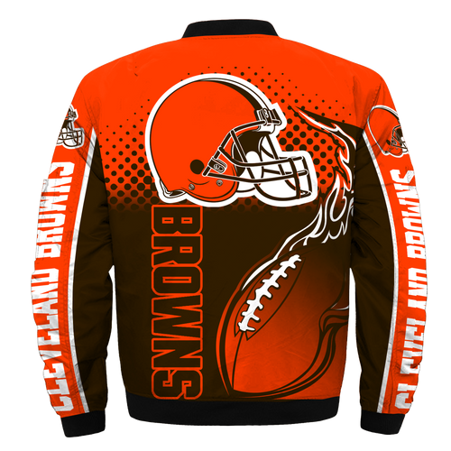 **(OFFICIALLY-LICENSED-N.F.L.CLEVELAND-BROWNS/CLASSIC-BROWNS-OFFICIAL-TEAM-COLORS & OFFICIAL-BROWNS-TEAM-LOGOS-CLASSIC-BOMBER/FLIGHT-JACKET,NEW-CUSTOM-3D-ALL-OVER-GRAPHIC-PRINTED-DOUBLE-SIDED-DESIGN/ZIPPERED-FRONT-BROWNS-TEAM-FLIGHT-JACKETS)**