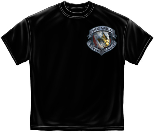 "(LICENSED-U.S.VETERANS,""NEVER-FORGET-THAT-FREEDOM-IS-NEVER-FREE & KNEELING-SOLDIER-HONORING-TRIBUTE"",NICE-GRAPHIC-PRINTED-PREMIUM-DOUBLE-SIDED-TEES:)"