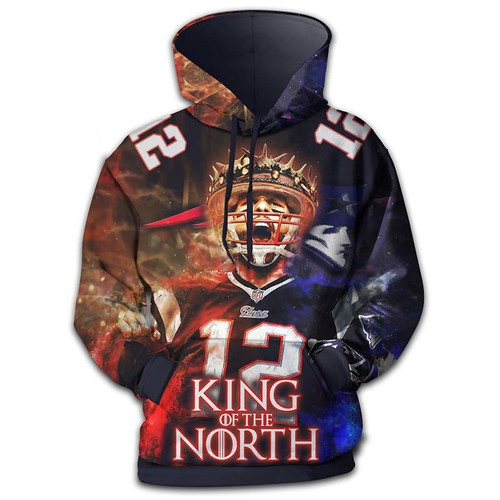 **(OFFICIALLY-LICENSED-N.F.L.NEW-ENGLAND-PATRIOTS-KING-OF-THE-NORTH & TOM-BRADY-NO.12-PULLOVER-HOODIES/CUSTOM-3D-GRAPHIC-PRINTED-DOUBLE-SIDED-ALL-OVER-GRAPHICS,IN-PATRIOTS-TEAM-COLORS/OFFICIAL-N.F.L.PATRIOTS-PREMIUM-WARM-PULLOVER-TEAM-HOODIES)**