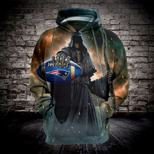 **(OFFICIALLY-LICENSED-N.F.L.NEW-ENGLAND-PATRIOTS-TEAM-FOOTBALL & GRIMM-REAPER/CARRYING-SICKEL-IN-SUDDEN-DEATH,NICE-CUSTOM-3D-GRAPHIC-PRINTED-DOUBLE-SIDED,ALL-OVER-PRINTED/OFFICIAL-PATRIOTS-FOOTBALL-PULLOVER-TEAM-HOODIES:)**