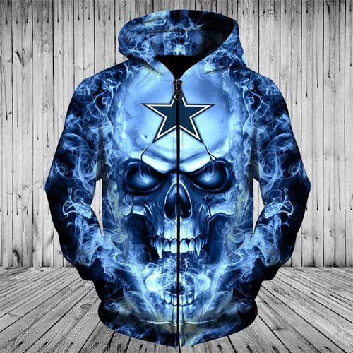 **(OFFICIAL-N.F.L.DALLAS-COWBOYS-FRONT-ZIPPERED-HOODIES/CUSTOM-3D-NEON-COWBOYS-BLUE-SMOKING-SKULL,PREMIUM-3D-GRAPHIC-PRINTED-COWBOYS-LOGO/DOUBLE-SIDED-WARM-ZIP-UP-FRONT,N.F.L.COWBOYS-TEAM-COLORED-HOODIES)**
