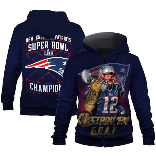 **(OFFICIALLY-LICENSED-N.F.L.NEW-ENGLAND-PATRIOTS-SUPER-BOWL-CHAMPIONS-LIII & TOM-BRADY-NO.12-DESTROY-'EM-G.O.A.T/NICE-CUSTOM-3D-GRAPHIC-DOUBLE-SIDED-PRINTED-OFFICIAL-PATRIOTS-DESIGNS-LOGOS,WARM-PREMIUM-FRONT-ZIPPERED-POCKET-HOODIES)**
