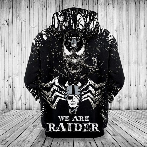 **(OFFICIALLY-LICENSED-N.F.L.OAKLAND-RAIDERS,CLASSIC-VENOM-HORROR-MOVIE-CHARACTER & WE-ARE-RAIDERS/NICE-DETAILED-PREMIUM-CUSTOM-3D-GRAPHIC-PRINTED/ALL-OVER-PRINTED-DESIGN,PREMIUM-WARM-N.F.L.OAKLAND-RAIDERS-LOGO & TEAM-COLOR-PULLOVER-HOODIES)**