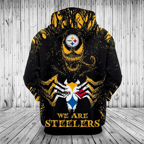 **(OFFICIAL-N.F.L.PITTSBURGH-STEELERS,CLASSIC-VENOM-HORROR-MOVIE-CHARACTER & WE-ARE-STEELERS/NICE-DETAILED-PREMIUM-CUSTOM-3D-GRAPHIC-PRINTED/ALL-OVER-PRINTED-DESIGN,PREMIUM-WARM-N.F.L.PITTSBURGH-STEELERS-LOGO & TEAM-COLOR-PULLOVER-HOODIES)**