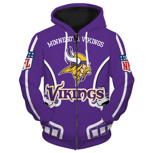 **(OFFICIALLY-LICENSED-N.F.L.MINNESOTA-VIKINGS-TEAM-ZIPPERED-HOODIES/NICE-CUSTOM-3D-GRAPHIC-PRINTED-DOUBLE-SIDED-ALL-OVER-OFFICIAL-VIKINGS-LOGOS,IN-VIKINGS-TEAM-COLORS/WARM-PREMIUM-OFFICIAL-N.F.L.VIKINGS-TEAM-ZIPPER-UP-FRONT-POCKET-HOODIES)**