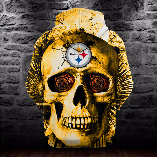 **(OFFICIAL-N.F.L.PITTSBURGH-STEELERS-HOODIES/3D-STEELERS-NEON-YELLOW-SKULL & CUSTOM-3D-GRAPHIC-PRINTED-OFFICIAL-STEELERS-SKULL-LOGOS,NICE-DOUBLE-SIDED-GRAPHIC-PRINT-ALL-OVER-DESIGN/VERY-UNIQUE-PREMIUM-PULLOVER-STEELERS-TEAM-COLOR-HOODIES)**