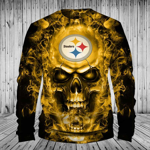 **(OFFICIAL-N.F.L.PITTSBURGH-STEELERS-TEAM-LONG-SLEEVE-TEES/CUSTOM-3D-NEON-YELLOW-FLAMING-STEELERS-SKULL,PREMIUM-3D-GRAPHIC-PRINTED-STEELERS-LOGO/DOUBLE-SIDED-N.F.L.STEELERS-TEAM-COLORED-LONG-SLEEVE-TEES)**