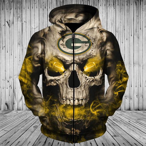**(OFFICIAL-N.F.L.GREEN-BAY-PACKERS-LOGO-ZIPPERED-HOODIES/3D-NEON-SKULL & GREEN-BAY-PACKERS-BLAZING-FOOTBALL,ON-FIRE-IN-SKULLS-EYES,PREMIUM-3D-CUSTOM-GRAPHIC-PRINTED/DOUBLE-SIDED-N.F.L. PACKERS-TEAM-COLORED-WARM-ZIP-UP-FRONT-HOODIES)**