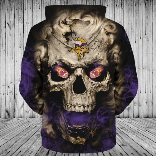 **(OFFICIAL-N.F.L.MINNESOTA-VIKINGS-LOGO-ZIPPERED-HOODIES/3D-NEON-SKULL & MINNESOTA-VIKINGS-BLAZING-FOOTBALL,ON-FIRE-IN-SKULLS-EYES,PREMIUM-3D-CUSTOM-GRAPHIC-PRINTED/DOUBLE-SIDED-N.F.L. VIKINGS-TEAM-COLORED-WARM-ZIP-UP-FRONT-HOODIES)**
