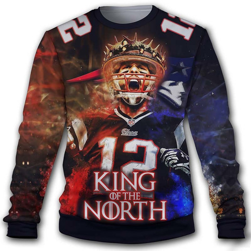 new concept d8028 f6a0a **(OFFICIALLY-LICENSED-N.F.L.NEW-ENGLAND-PATRIOTS-KING-OF-THE-NORTH &  TOM-BRADY-NO.12-LONG-SLEEVE-SWEAT-SHIRT/CUSTOM-3D-GRAPHIC-PRINTED-DOUBLE-SIDED-A...