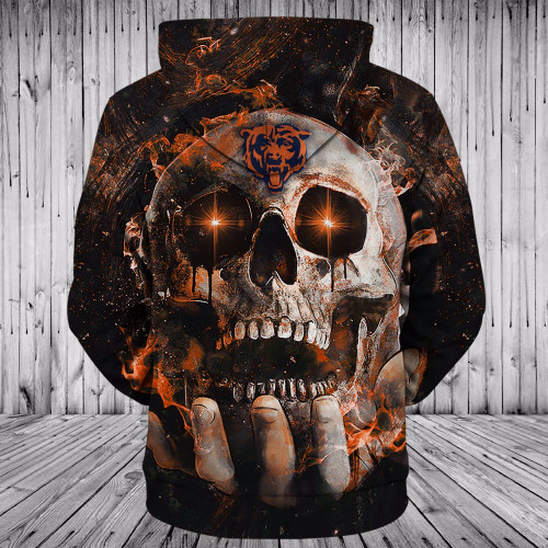 **(OFFICIAL-N.F.L.CHICAGO-BEARS-TEAM-NEON-SKULL-ZIPPERED-FRONT-HOODIES/CUSTOM-3D-NEON-GRAPHIC-PRINTED-DOUBLE-SIDED-ALL-OVER-OFFICIAL-BEARS-LOGOS, & IN-BEARS-OFFICIAL-TEAM-COLORS/WARM-PREMIUM-OFFICIAL-N.F.L.BEARS,TRENDY-TEAM-ZIP-UP-POCKET-HOODIES)**