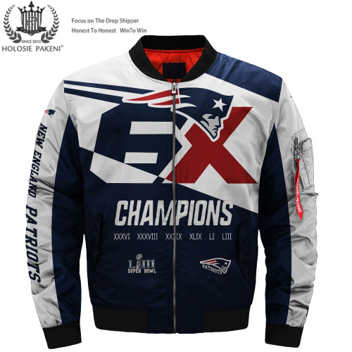 *(OFFICALLY-LICENSED-N.F.L.NEW-ENGLAND-PATRIOT-CUSTOM-SUPER-BOWL-LIII-CHAMPIONS-BOMBER-FLIGHT-JACKETS/SIX-TIMES-SUPER-BOWL-CHAMPION-WINNERS/NICE-CUSTOM-GRAPHIC-DOUBLE-SIDED-PRINTING/WITH-OFFICIAL-PATRIOTS-LOGOS & OFFICIAL-NFL-PATRIOTS-TEAM-COLORS)*