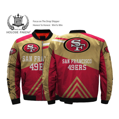 **(OFFICIALLY-LICENSED-N.F.L.SAN-FRANCISCO-49ERS-JACKETS/CLASSIC-49ERS-TEAM-COLORS & OFFICIAL-49ERS-LOGOS,BOMBER/MA-1 FLIGHT-JACKET,NICE-CUSTOM-3D-ALL-OVER-GRAPHIC-PRINTED-DOUBLE-SIDED/ZIP-UP-FRONT-WARM-PREMIUM-N.F.L.49ERS-FLIGHT-JACKETS)**