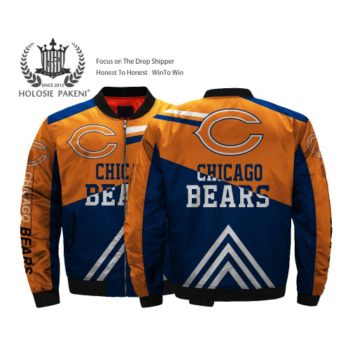 **(OFFICIALLY-LICENSED-N.F.L.CHICAGO-BEARS-JACKETS/CLASSIC-BEARS-TEAM-COLORS & OFFICIAL-BEARS-LOGOS,BOMBER/MA-1 FLIGHT-JACKET,NICE-CUSTOM-3D-ALL-OVER-GRAPHIC-PRINTED-DOUBLE-SIDED/ZIP-UP-FRONT-WARM-PREMIUM-N.F.L.BEARS-FLIGHT-JACKETS)**