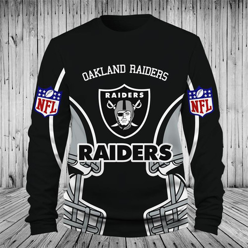 **(OFFICIALLY-LICENSED-N.F.L.OAKLAND-RAIDERS-TEAM-LONG-SLEEVE-TEES/NICE-CUSTOM-3D-GRAPHIC-PRINTED-DOUBLE-SIDED,ALL-OVER-GRAPHIC-OFFICIAL-RAIDERS-LOGOS & IN-RAIDERS-TEAM-COLORS/TRENDY-PREMIUM-OFFICIAL-N.F.L.RAIDERS-TEAM-LONG-SLEEVE-GRAPHIC-TEES)**