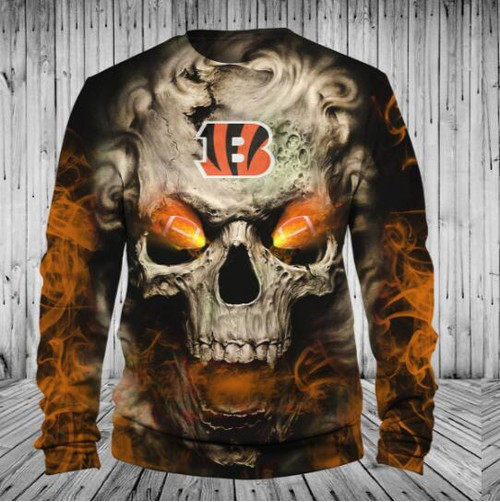 **(OFFICIALLY-LICENSED-N.F.L.CINCINNATI-BENGALS,TRENDY-LONG-SLEEVE-TEES & BENGALS-SKULL-WITH/NEON-GLOWING-FIERY-FOOTBALL-EYES,NICE-CUSTOM-3D-GRAPHIC-PRINTED-ALL-OVER-DESIGN/DOUBLE-SIDED-BENGALS-FOOTBALL-LOGO-TEAM-COLORS,PREMIUM-LONG-SLEEVE-TEES:)**