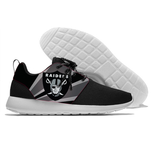 **(NEW-OFFICIALLY-LICENSED-N.F.L.OAKLAND-RAIDERS-RUNNING-SHOES,MENS-OR-WOMENS-ROSHE-STYLE/LIGHT-WEIGHT-SPORT-RUNNING-SHOES,WITH-OFFICIAL-RAIDERS-TEAM-COLORS & RAIDERS-TEAM-LOGOS/WITH-SPECIAL-CUSHIONED-COMFORT-INSOLES & COMES-IN-ALL-SIZES:)**