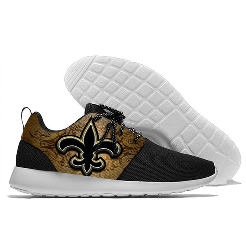 **(NEW-OFFICIALLY-LICENSED-N.F.L.NEW-ORLEANS-SAINTS-RUNNING-SHOES,MENS-OR-WOMENS-ROSHE-STYLE/LIGHT-WEIGHT-SPORT-RUNNING-SHOES,WITH-OFFICIAL-SAINTS-TEAM-COLORS & SAINTS-TEAM-LOGOS/WITH-SPECIAL-CUSHIONED-COMFORT-INSOLES & COMES-IN-ALL-SIZES:)**