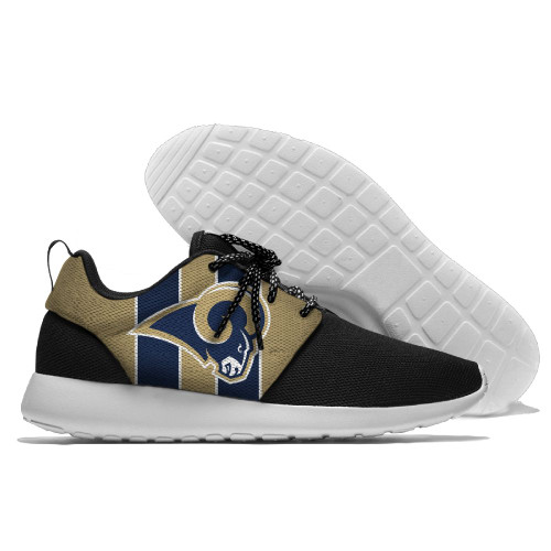 **(NEW-OFFICIALLY-LICENSED-N.F.L.LOS-ANGELES-RAMS-RUNNING-SHOES,MENS-OR-WOMENS-ROSHE-STYLE/LIGHT-WEIGHT-SPORT-RUNNING-SHOES,WITH-OFFICIAL-RAMS-TEAM-COLORS & RAMS-TEAM-LOGOS/WITH-SPECIAL-CUSHIONED-COMFORT-INSOLES & COMES-IN-ALL-SIZES:)**