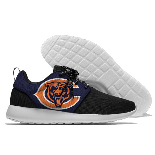 **(NEW-OFFICIALLY-LICENSED-N.F.L.CHICAGO-BEARS-RUNNING-SHOES,MENS-OR-WOMENS-ROSHE-STYLE/LIGHT-WEIGHT-SPORT-PREMIUM-RUNNING-SHOES,WITH-OFFICIAL-BEARS-TEAM-COLORS & BEARS-TEAM-LOGOS/WITH-SPECIAL-CUSHIONED-COMFORT-INSOLES & COMES-IN-ALL-SIZES:)**