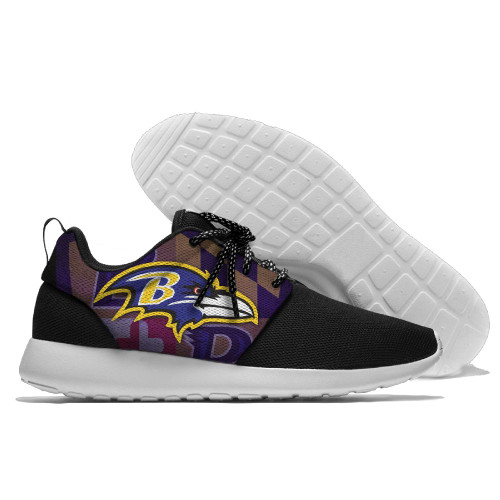 **(NEW-OFFICIALLY-LICENSED-N.F.L.BALTIMORE-RAVENS-RUNNING-SHOES,MENS-OR-WOMENS-ROSHE-STYLE/LIGHT-WEIGHT-SPORT-PREMIUM-RUNNING-SHOES,WITH-OFFICIAL-RAVENS-TEAM-COLORS & RAVENS-TEAM-LOGOS/WITH-SPECIAL-CUSHIONED-COMFORT-INSOLES & COMES-IN-ALL-SIZES:)**