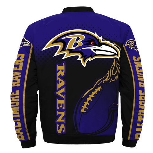 **(OFFICIAL-N.F.L.BALTIMORE-RAVENS & OFFICIAL-RAVENS-TEAM-COLORS & OFFICIAL-CLASSIC-RAVENS-LOGOS-BOMBER/FLIGHT-JACKET & NICE-NEW-CUSTOM-3D-GRAPHIC-PRINTED-DOUBLE-SIDED-ALL-OVER-DESIGN-GRAPHICS/WARM-PREMIUM-N.F.L.RAVENS-TEAM-FLIGHT-JACKETS)**