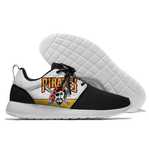 **(NEW-OFFICIALLY-LICENSED-M.L.B.PITTSBURGH-PIRATES-RUNNING-SHOES,MENS-OR-WOMENS-ROSHE-STYLE,LIGHT-WEIGHT-SPORT-PREMIUM-RUNNING-SHOES/WITH-OFFICIAL-PIRATES-TEAM-COLORS & PIRATES-TEAM-LOGOS,SPECIAL-CUSHIONED-COMFORT-INSOLES/COMES-IN-ALL-SIZES:)**