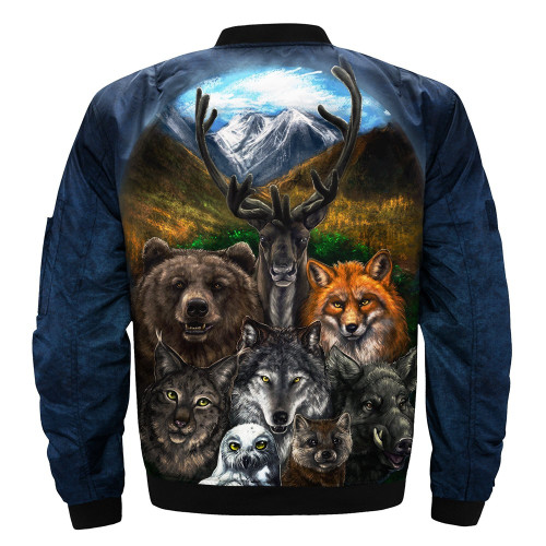 **(BEAUTIFUL-WILDLIFE-ANIMAL-MIX-JACKETS/WOLF,BEAR,MOOSE,FOX,OWL,WILD-BOAR & COYOTE/ALL-COEXISTING-OUT-IN-THE-CANYON-WILDERNESS,NICE-3D-GRAPHIC-PRINTED-DOUBLE-SIDED-ALL-OVER-PRINT-DESIGNED/MILITARY-STYLE-BOMBER-FIGHT-JACKETS)**