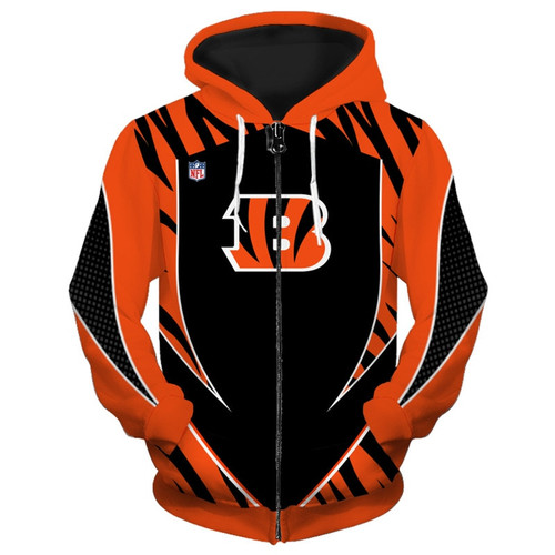**(OFFICIAL-N.F.L.CINCINNATI-BENGALS-TEAM-ZIPPERED-HOODIES/NEW-CUSTOM-3D-GRAPHIC-PRINTED-DOUBLE-SIDED-DESIGNED/ALL-OVER-OFFICIAL-BENGALS-LOGOS & IN-BENGALS-TEAM-COLORS/WARM-PREMIUM-OFFICIAL-N.F.L.BENGALS-TEAM/ZIPPERED-UP-FRONT-POCKET-HOODIES)**