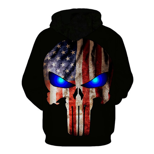 **(PATRIOTIC-FLAG-PUNISHER-SKULL-HOODIE & BRIGHT-BLUE-GLOWING-EYES/NICE-CUSTOM-3D-EFFECT-GRAPHIC-PRINTED-DOUBLE-SIDED/ALL-OVER-DESIGN-PREMIUM-OVER-SIZED-PULLOVER-POCKET-HOODIES)**