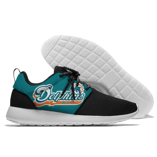 **(OFFICIALLY-LICENSED-N.F.L.MIAMI-DOLPHINS-RUNNING-SHOES,MENS-OR-WOMENS-ROSHE-STYLE/LIGHT-WEIGHT-SPORT-PREMIUM-RUNNING-SHOES,WITH-OFFICIAL-DOLPHINS-TEAM-COLORS & DOLPHINS-TEAM-LOGOS/WITH-SPECIAL-CUSHIONED-COMFORT-INSOLES/TRENDY-NEW-TEAM-STYLES:)**