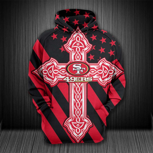 **(OFFICIAL-N.F.L.SAN-FRANCISCO-49ERS-PULLOVER-HOODIES/OFFICIAL-49ERS-TEAM-LOGOS & OFFICIAL-49ERS-TEAM-COLORS/NICE-CUSTOM-3D-GRAPHIC-PRINTED/WITH-CELTIC-CROSS-DESIGN & PATRIOTIC-STARS/STRIPES-PRINTED-BACKGROUND,PREMIUM-TEAM-PULLOVER-HOODIES)**