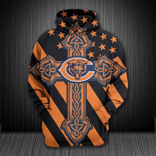 **(OFFICIAL-N.F.L.CHICAGO-BEARS-PULLOVER-HOODIES/OFFICIAL-BEARS-TEAM-LOGOS & OFFICIAL-BEARS-TEAM-COLORS/NICE-CUSTOM-3D-GRAPHIC-PRINTED/WITH-CELTIC-CROSS-DESIGN & PATRIOTIC-STARS/STRIPES-PRINTED-BACKGROUND,PREMIUM-TRENDY-TEAM-PULLOVER-HOODIES)**
