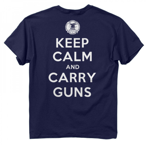 NRA Keep Calm  •Heavyweight 6oz. 100% cotton tee •Official Licensed Product •Short set-in sleeves and a two needle hem around the sleeves and bottom •Comfort cut for maximum maneuverability •Double stitched seamless collar, taped neck and Shoulders •High Quality screen printed artwork that will withstand hundreds of washes