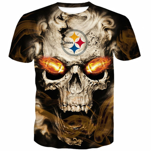**(OFFICIALLY-LICENSED-N.F.L.PITTSBURGH-STEELERS-TRENDY-TEES & NEON-3D-GLOWING-FIERY-STEELERS-FOOTBALL-EYES/CUSTOM-3D-EFFECT-GRAPHIC-PRINTED-ALL-OVER-DOUBLE-SIDED-DESIGN/OFFICIAL-STEELERS-FOOTBALL-LOGOS & OFFICIAL-STEELERS-TEAM-COLORS-PREMIUM-TEES)**