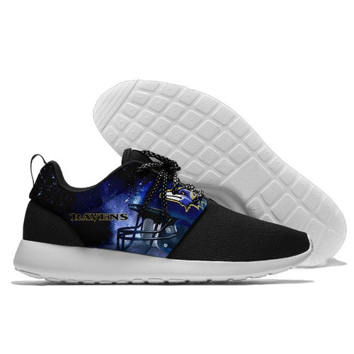 **(NEW-OFFICIALLY-LICENSED-N.F.L.BALTIMORE-RAVENS-RUNNING-SHOES,MENS-OR-WOMENS-ROSHE-STYLE/LIGHT-WEIGHT-SPORT-PREMIUM-RUNNING-SHOES,WITH-OFFICIAL-RAVENS-TEAM-COLORS & RAVENS-TEAM-LOGOS/WITH-SPECIAL-CUSHIONED-COMFORT-INSOLES/TRENDY-TEAM-FAN-SHOES:)**