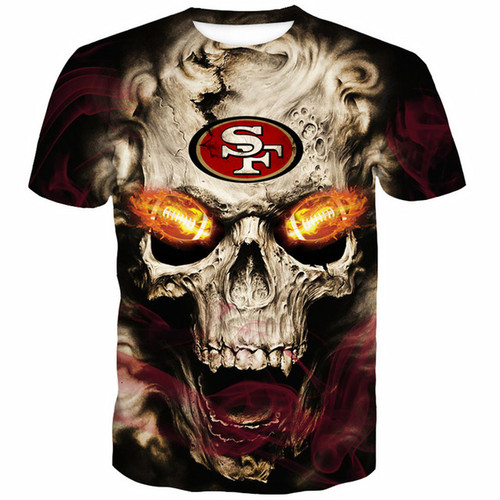 **(OFFICIALLY-LICENSED-N.F.L.SAN-FRANCISCO-49ERS-TRENDY-TEES & NEON-3D-GLOWING-FIERY-49ERS-FOOTBALL-EYES/CUSTOM-3D-EFFECT-GRAPHIC-PRINTED-ALL-OVER-DOUBLE-SIDED-DESIGN/OFFICIAL-49ERS-FOOTBALL-LOGOS & OFFICIAL-N.F.L.49ERS-TEAM-COLORS-PREMIUM-TEES)**