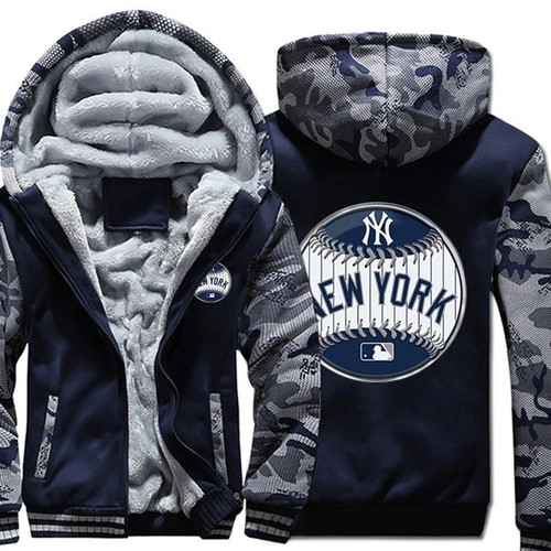 **(OFFICIAL-NEW-YORK-YANKEES-FRONT-ZIPPERED-PREMIUM-HOODIES/WARM-THICK-FLEECE-INNER-LINED-IN-TRENDY-BLUE & URBAN-CAMO.-TWO-TONE-COLOR/CUSTOM-3D-EFFECT-GRAPHIC-DOUBLE-SIDED-PRINTING-DESIGN & OFFICIAL-CLASSIC-YANKEES-BASEBALL-LOGOS-ON-BOTH-SIDES)**