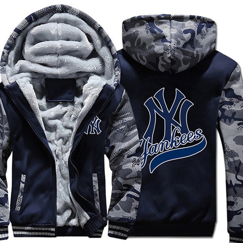 **(OFFICIAL-NEW-YORK-YANKEES-FRONT-ZIPPERED-PREMIUM-HOODIES/WARM-THICK-FLEECE-INNER-LINED-IN-TRENDY-BLUE & URBAN-CAMO.-TWO-TONE-IN-COLOR/CUSTOM-3D-EFFECT-GRAPHIC-DOUBLE-SIDED-PRINTING-DESIGN & OFFICIAL-CLASSIC-M.L.B.YANKEES-LOGOS-ON-BOTH-SIDES)**
