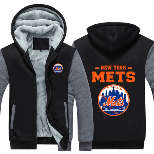 **(OFFICIAL-NEW-YORK-METS-FRONT-ZIPPERED-PREMIUM-HOODIES/WARM-THICK-FLEECE-INNER-LINED-IN-TRENDY-BLUE & GREY-TWO-TONE-COLOR/CUSTOM-3D-EFFECT-GRAPHIC-DOUBLE-SIDED-PRINTING-DESIGN & OFFICIAL-CLASSIC-NEW-YORK-METS-BASEBALL-LOGOS-ON-BOTH-SIDES)**