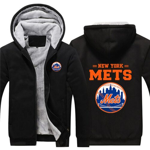 **(OFFICIAL-NEW-YORK-METS-FRONT-ZIPPERED-PREMIUM-HOODIES/WARM-THICK-FLEECE-INNER-LINED,IN-TRENDY-NEW-MIDNIGHT-BLACK-COLOR/CUSTOM-3D-EFFECT-GRAPHIC-DOUBLE-SIDED-PRINTING-DESIGN & OFFICIAL-CLASSIC-NEW-YORK-METS-BASEBALL-LOGOS-ON-BOTH-SIDES)**