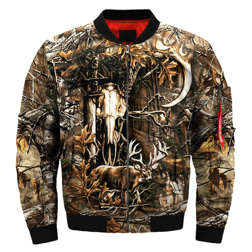 **(BIG-CAMO.TROPHY-BUCK & DEER-SKULL-FLIGHT-JACKETS/CAMO.DEER-HIDDEN-DEEP-IN-THE-FOREST/NICE-3D-CUSTOM-DETAIL-GRAPHIC-PRINTED,DOUBLE-SIDED-ALL-OVER-DESIGN-PRINT/WARM-ZIPPERED-BOMBER-PREMIUM-JACKETS)**