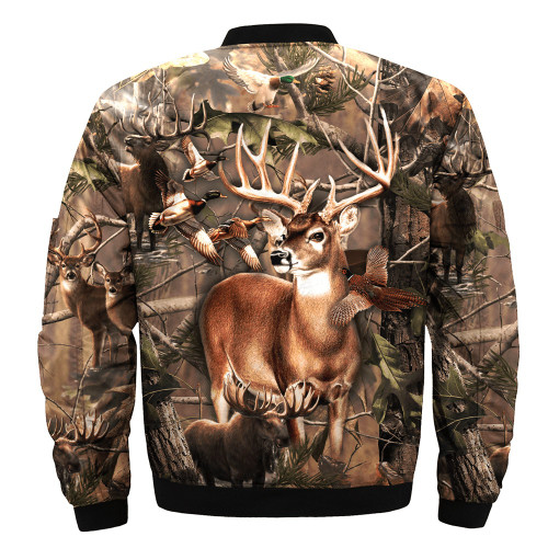 **(BIG-CAMO.TROPHY-DEER-BUCK & HUNTERS-WILDLIFE-GAME-MIX-FLIGHT-JACKETS/CAMO.DEER-HIDDEN-DEEP-IN-THE-FOREST/NICE-3D-CUSTOM-DETAIL-GRAPHIC-PRINTED,DOUBLE-SIDED-ALL-OVER-DESIGN-PRINT/WARM-ZIPPERED-BOMBER-PREMIUM-JACKETS)**