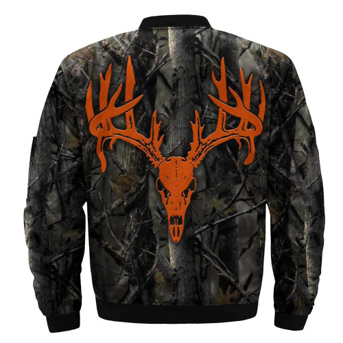 **(BIG-BUCK-TROPHY-DEER-SKULL-FLIGHT-JACKETS/IN-CLASSIC-HUNTERS-BLAZE-ORANGE/NICE-3D-CUSTOM-DETAILED-GRAPHIC-PRINTED,DOUBLE-SIDED-ALL-OVER-PRINTED-DESIGN,WARM-ZIPPERED-PREMIUM-BOMBER/FLIGHT-JACKETS)**